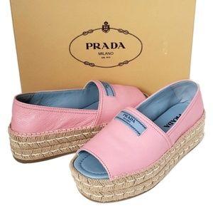 Brand New w/Tag Prada Pink Leather Peep Toe Shoes